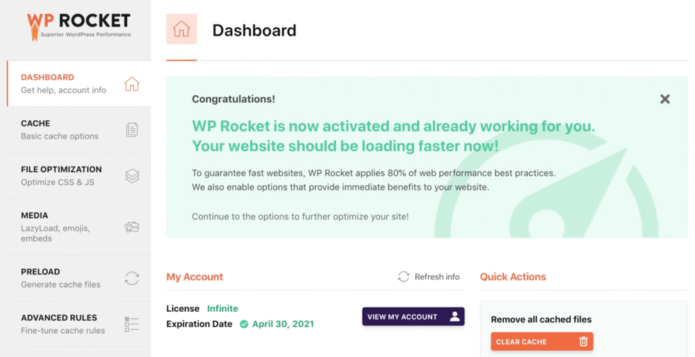 WP Rocket Plugin Interface