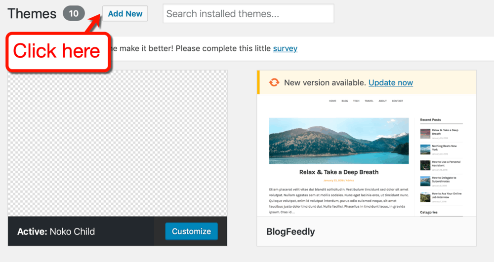 WordPress Add New Theme Button