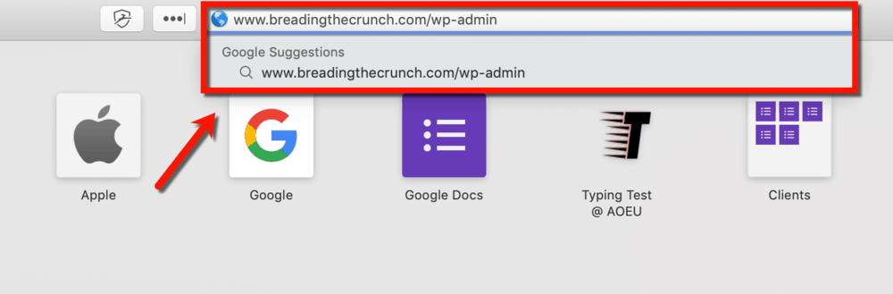 Accessing the WordPress Dashboard via the Browser