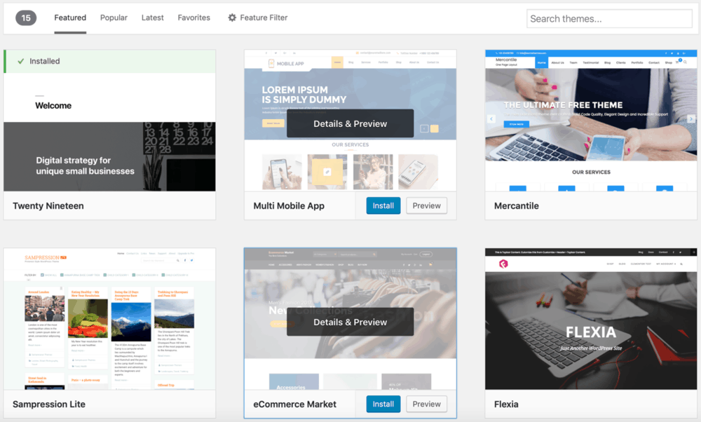 WordPress Featured Themes Tab