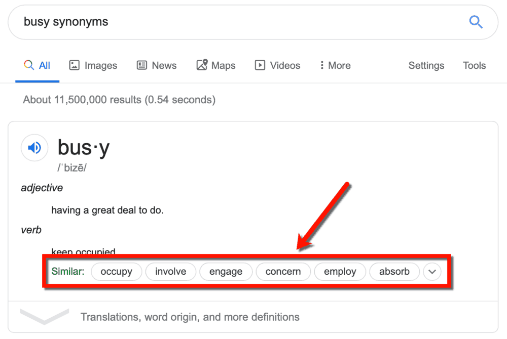 Busy Synonyms Google
