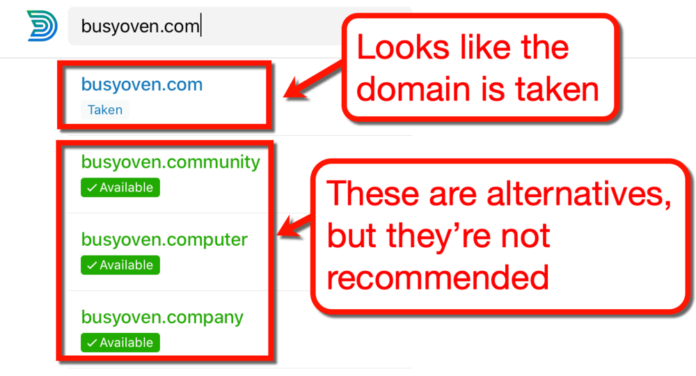 Domainr Availability Results