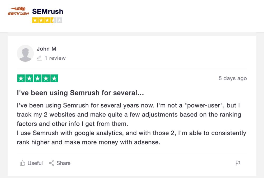 Trustpilot SEMrush review sample