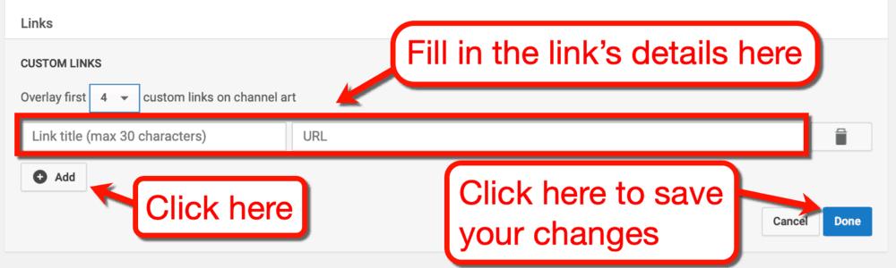 Adding Links Details