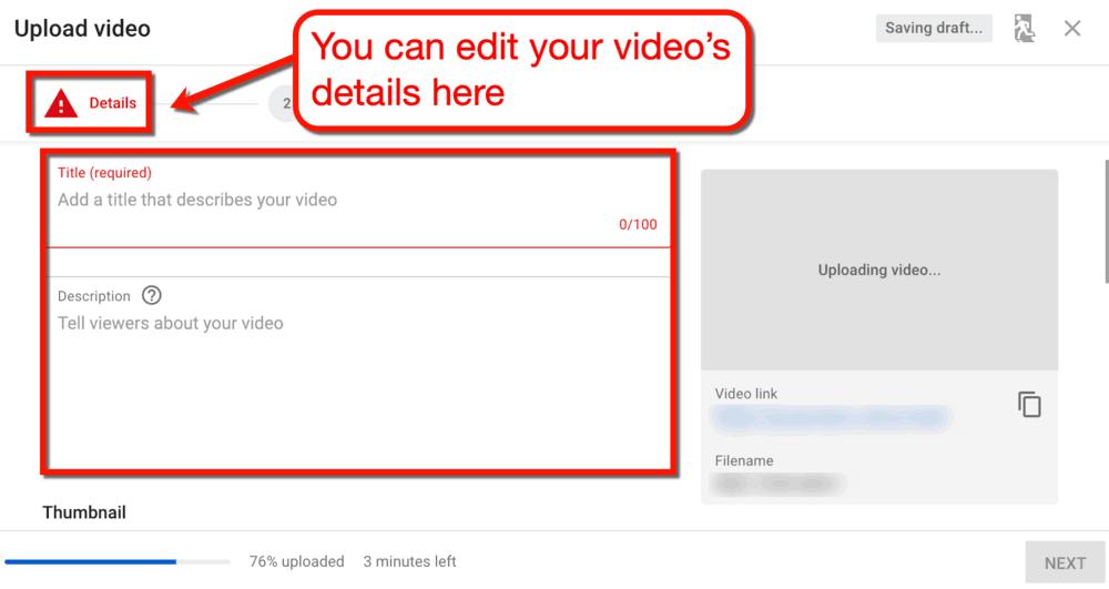 Upload Video Details
