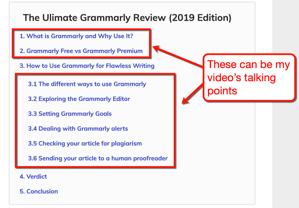 Grammarly Potential Video Talking Points