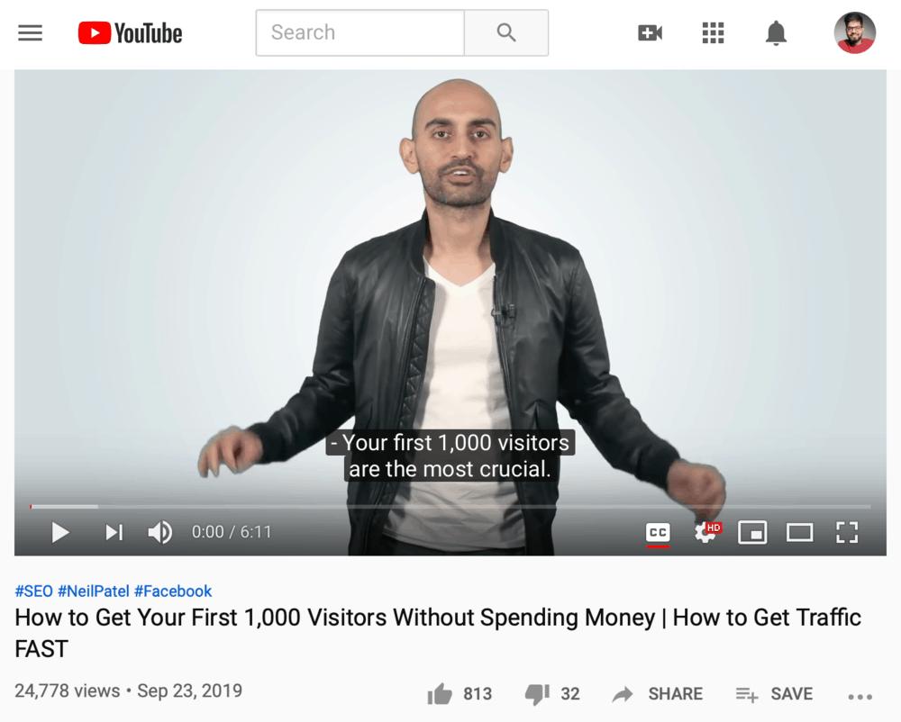 Neil Patel Video Title Example