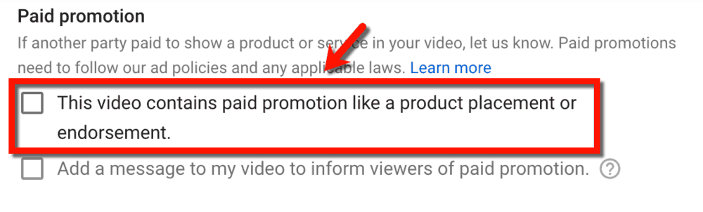 Paid Promotion Checkbox