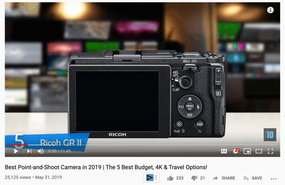 Camera Review on YouTube