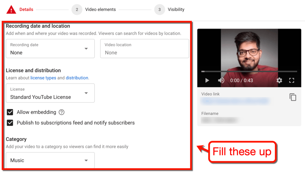 Upload Video Additional Details