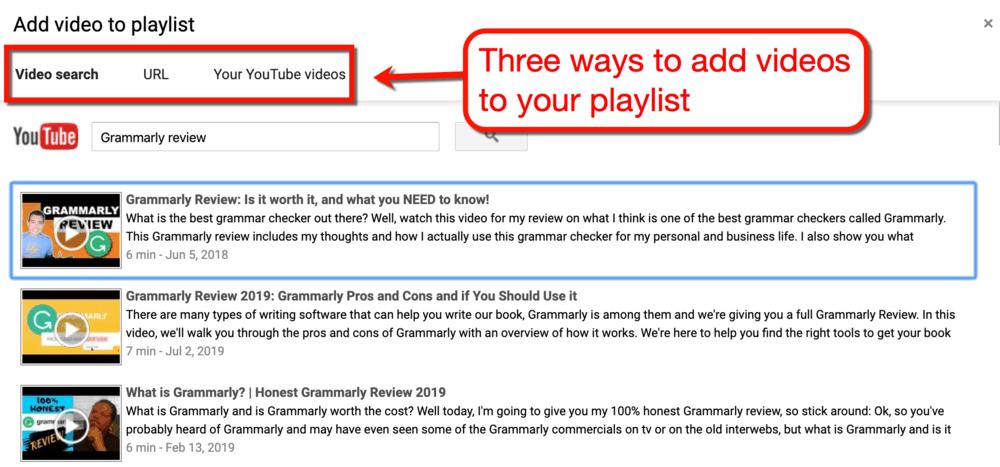 Add Videos to Playlist