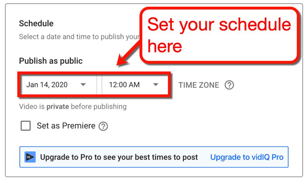 YouTube Video Schedule