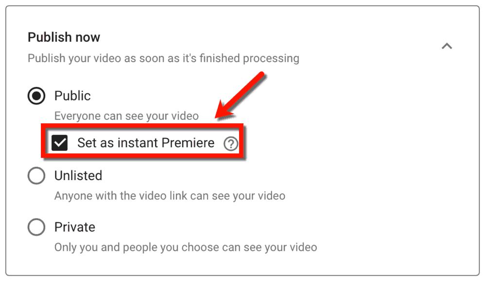 Set as Instant Premiere