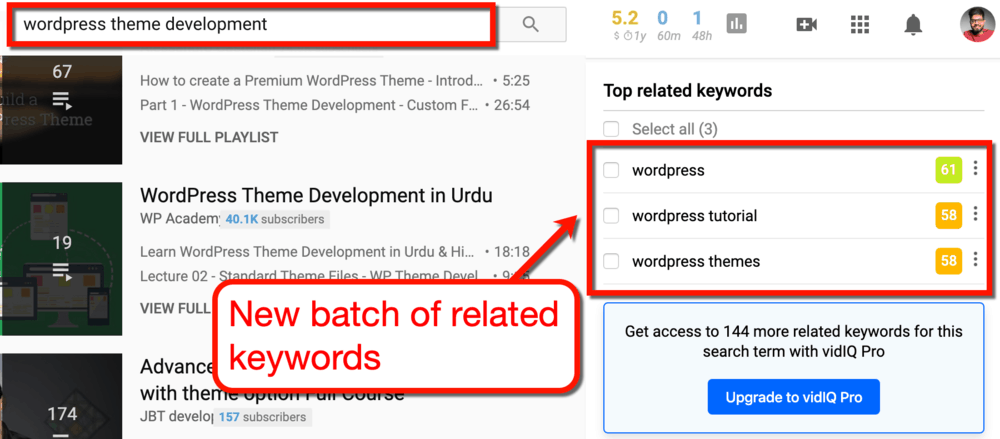 vidIQ Top Related Keywords