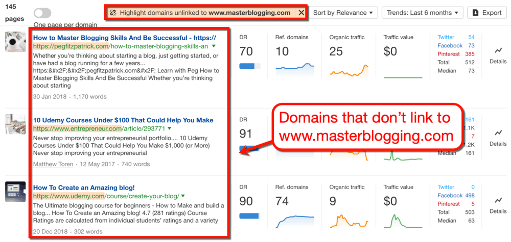 Ahrefs Highlighted Unlinked Domains