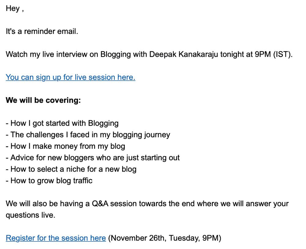 Ankit Singla Sample Email Copy