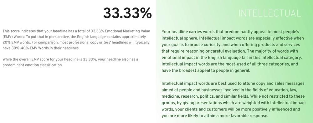 EMV Headline Analyzer Results
