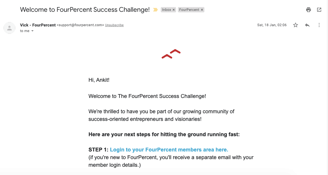 Fourpercent Success Challenge Welcome Email