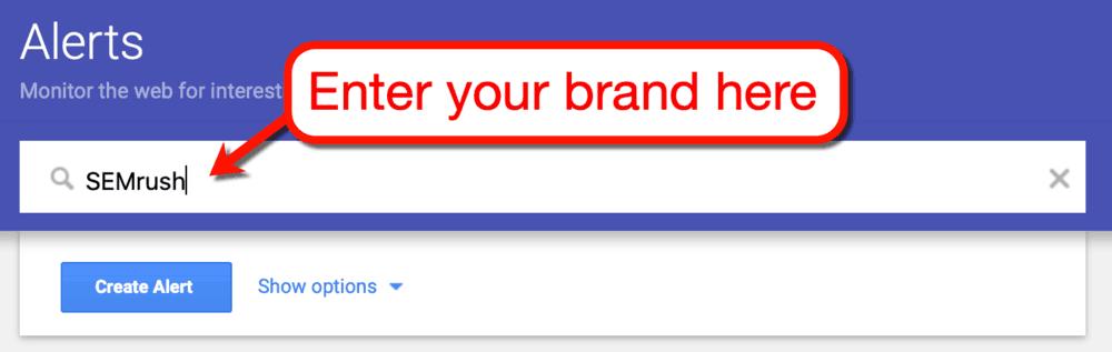 Google Alerts Enter Brand
