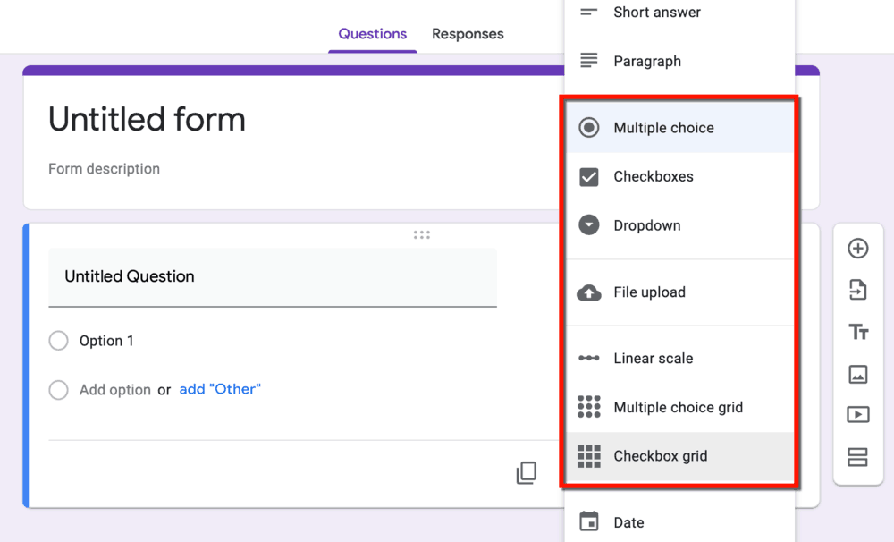 Google Forms Response Options