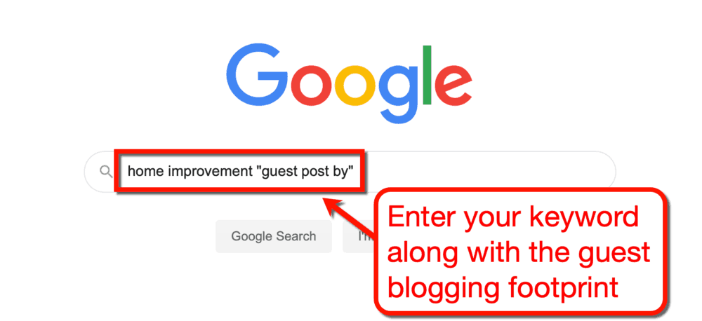 Google Home Improvement Keyword with Link Building Footprint