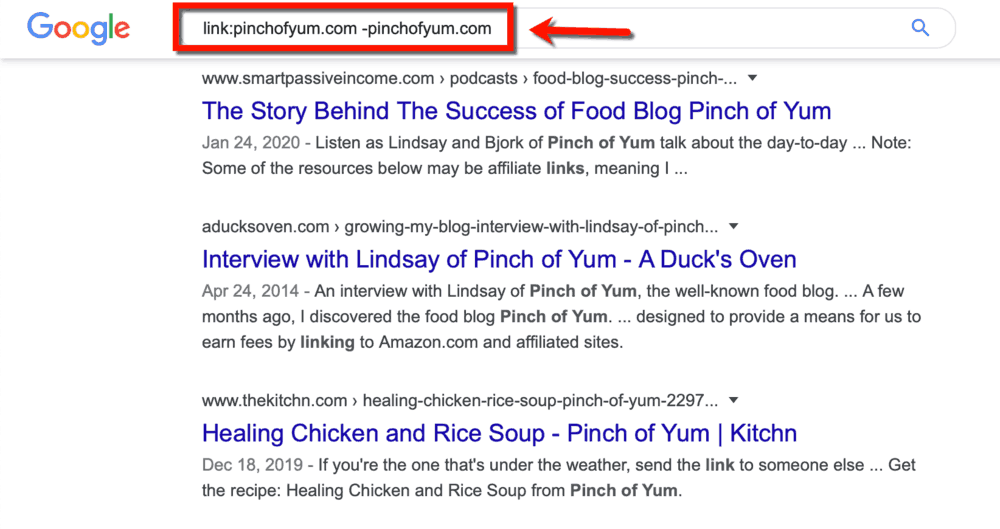 Google SERP Pinch of Yum as Competitor