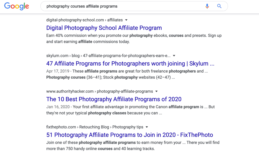 Google Search Results for Photography Courses Affiliate Programs