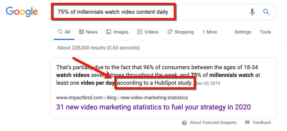 Google Search SERP Video Content Millennials Statistic