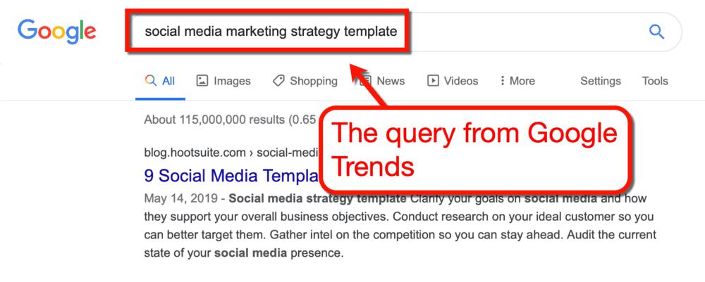 Google Trends Query SERP