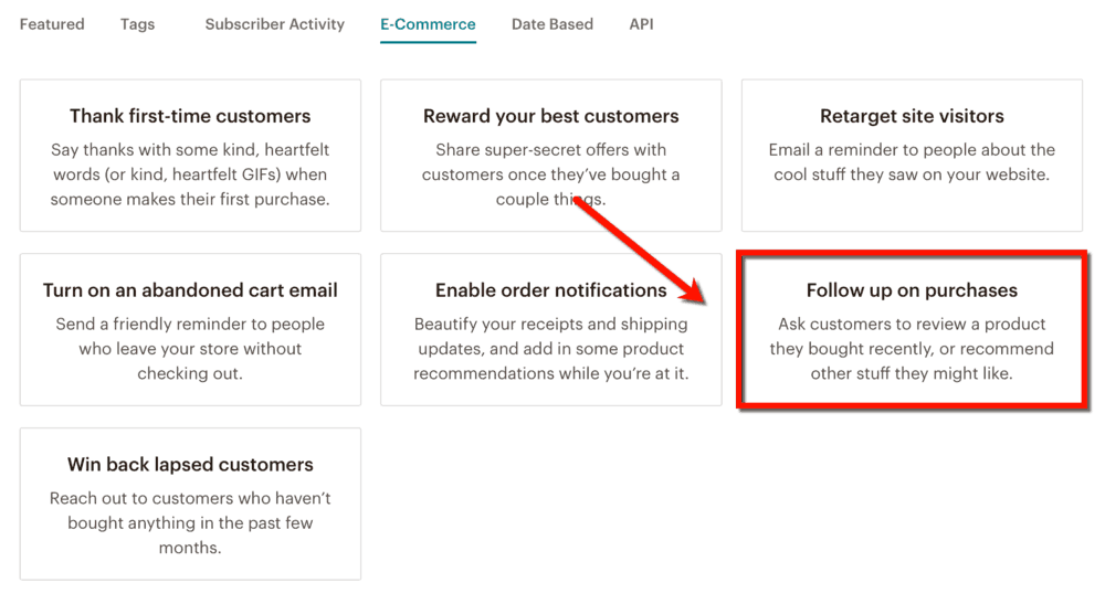 MailChimp Follow Up on Purchases Automation
