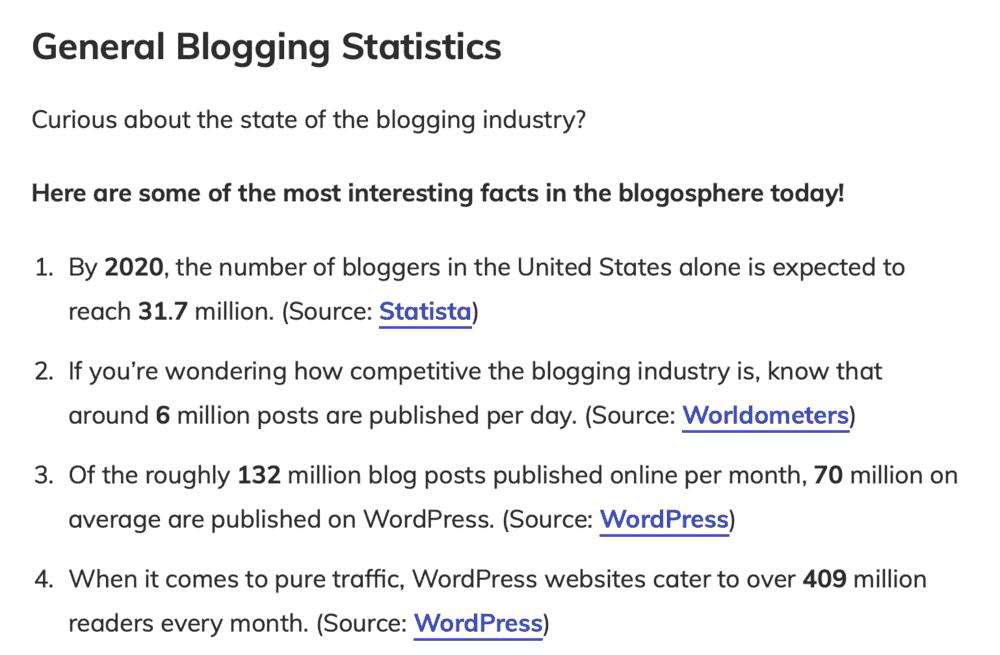 Master Blogging General Blogging Statistics