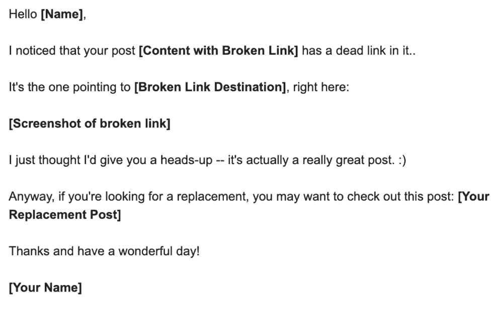 Outreach Email Sample for Broken Link Building