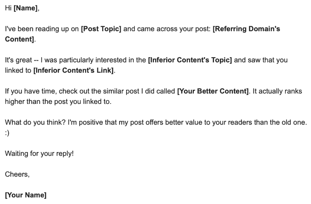 Outreach Email Sample for Inferior Content Link Building
