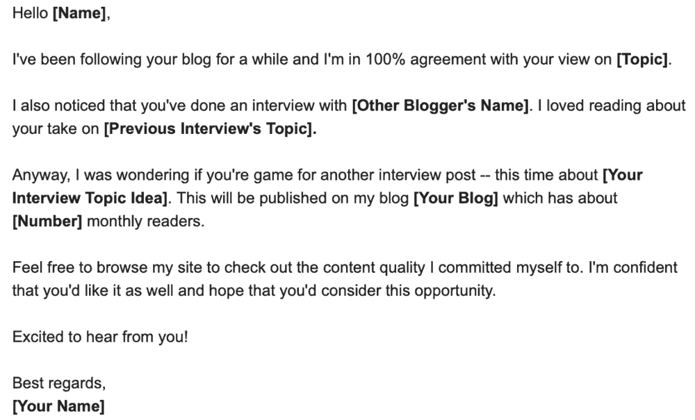 Outreach Email Sample Interview Post