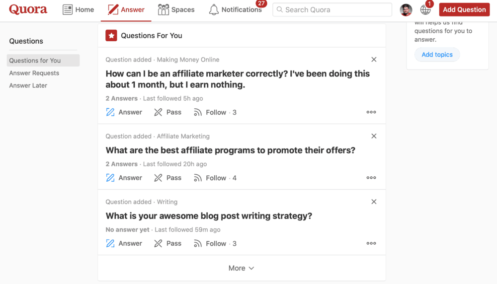 Answering Questions on Quora