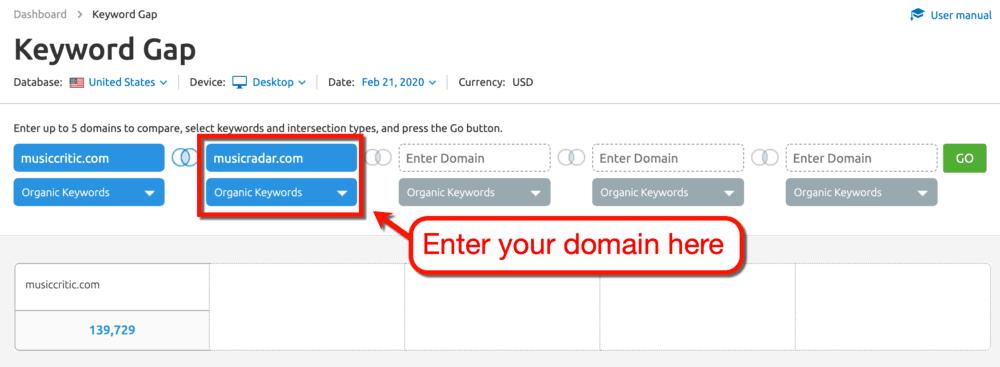 Keyword Gap Tool Second Domain