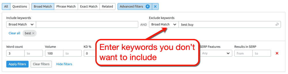 SEMrush Keyword Magic Tool Exclude Filter