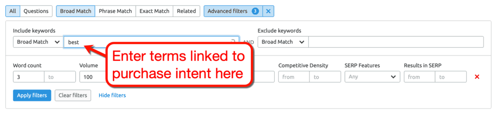 Keyword Magic Tool Include Filter