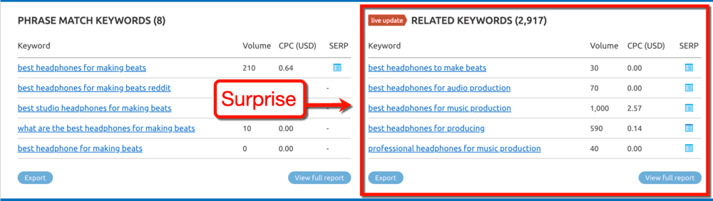 Keyword Overview Related Keywords Panel