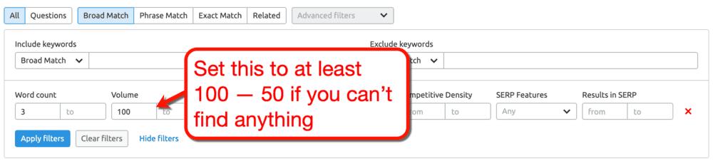 SEMrush Keyword Magic Tool Volume Filter
