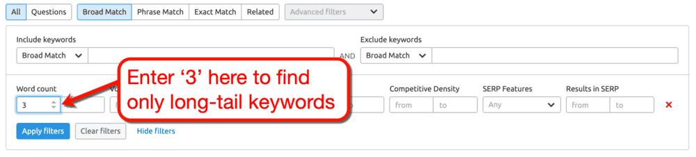 SEMrush Keyword Magic Tool Word Count Filter