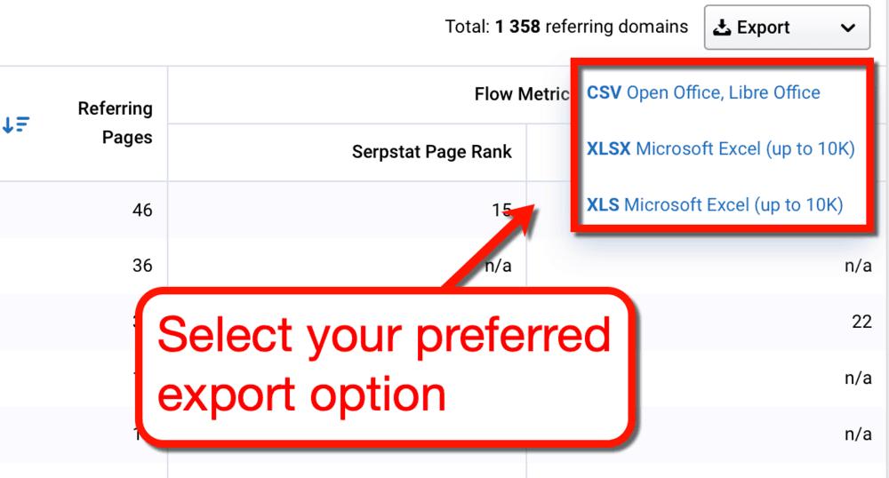 Serpstat Export Options