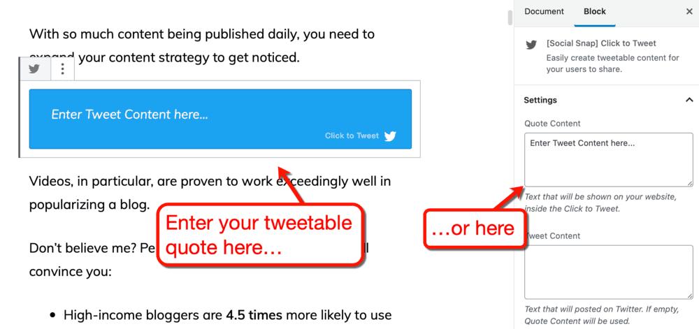 Social Snap Click-To-Tweet Settings