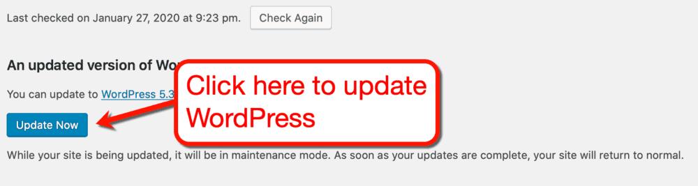 Update WordPress Button