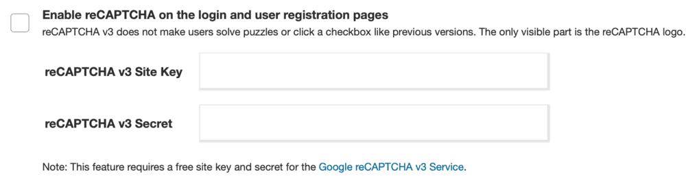Wordfence reCAPTCHA Settings