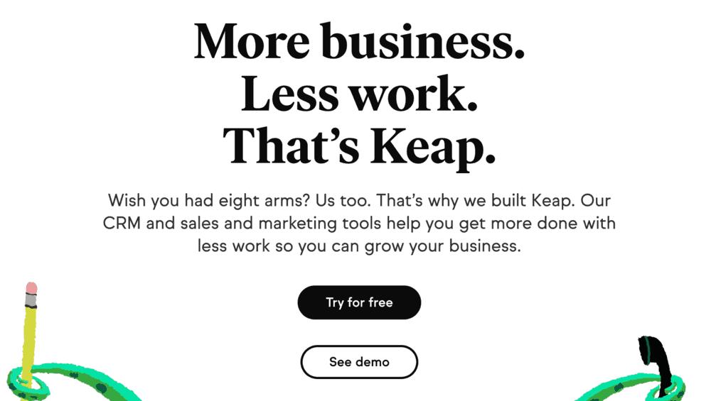 Keap Homepage