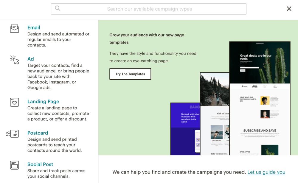 MailChimp Create Campaign Window