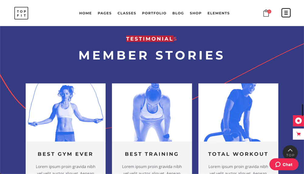 TopFit Testimonials Section