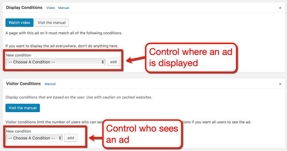Advanced Ads Display Conditions