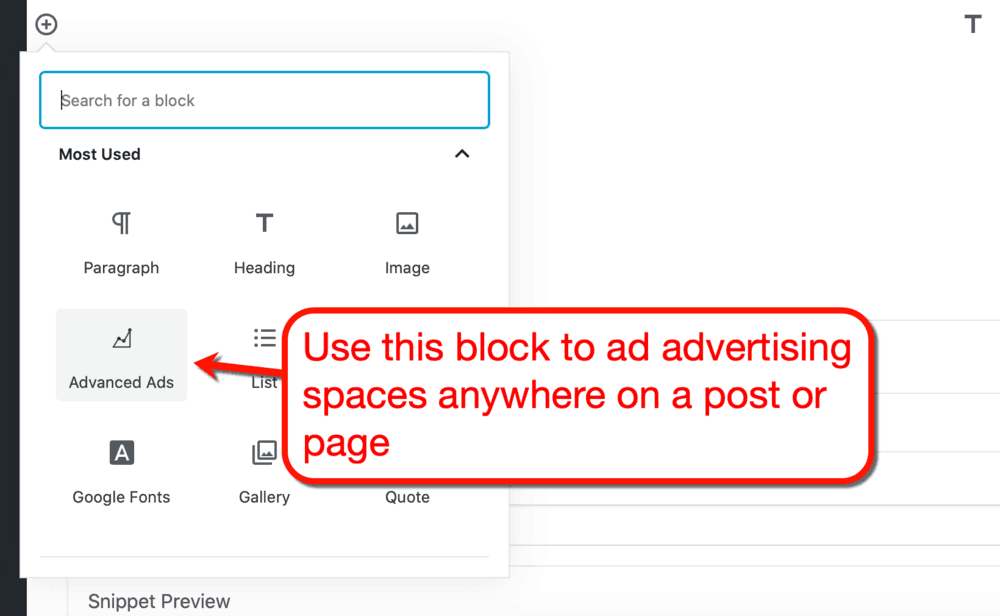 Advanced Ads Gutenberg Block